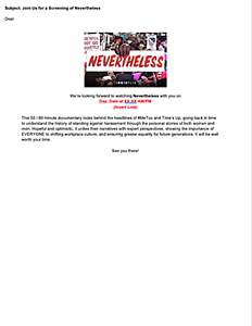 Nevertheless Email Template Invite preview page