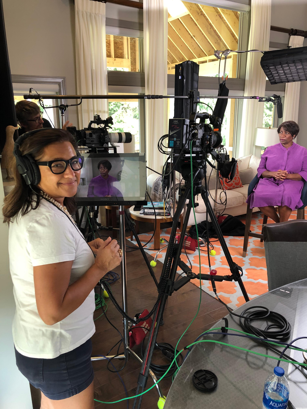 Scilla filming Deborah Plummer