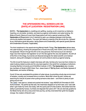 The Upstanders Press Release for clients preview page